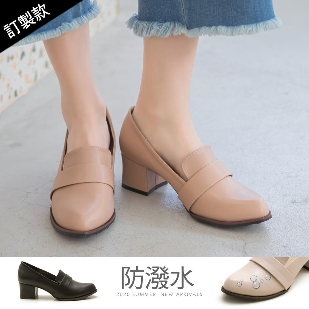 訂製款-復古女伶皮革高跟包鞋-大尺碼