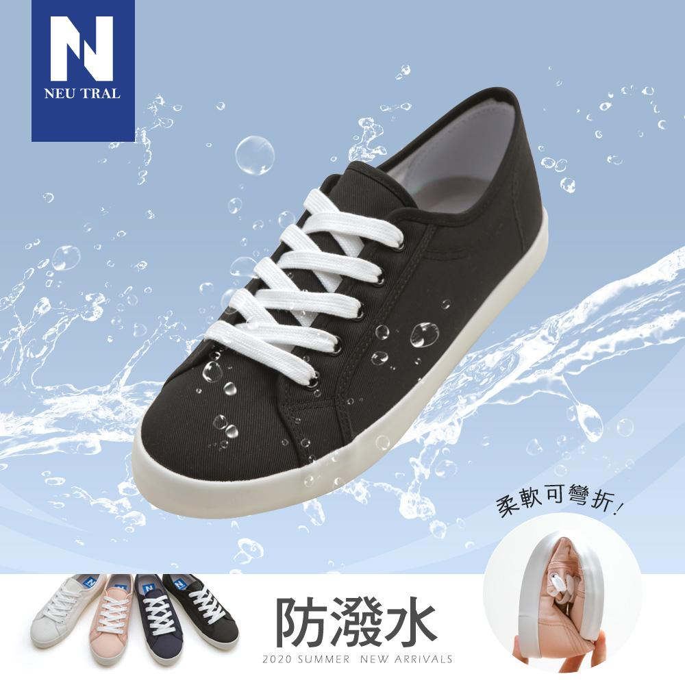 NeuTral-防潑水棉質小白鞋-黑