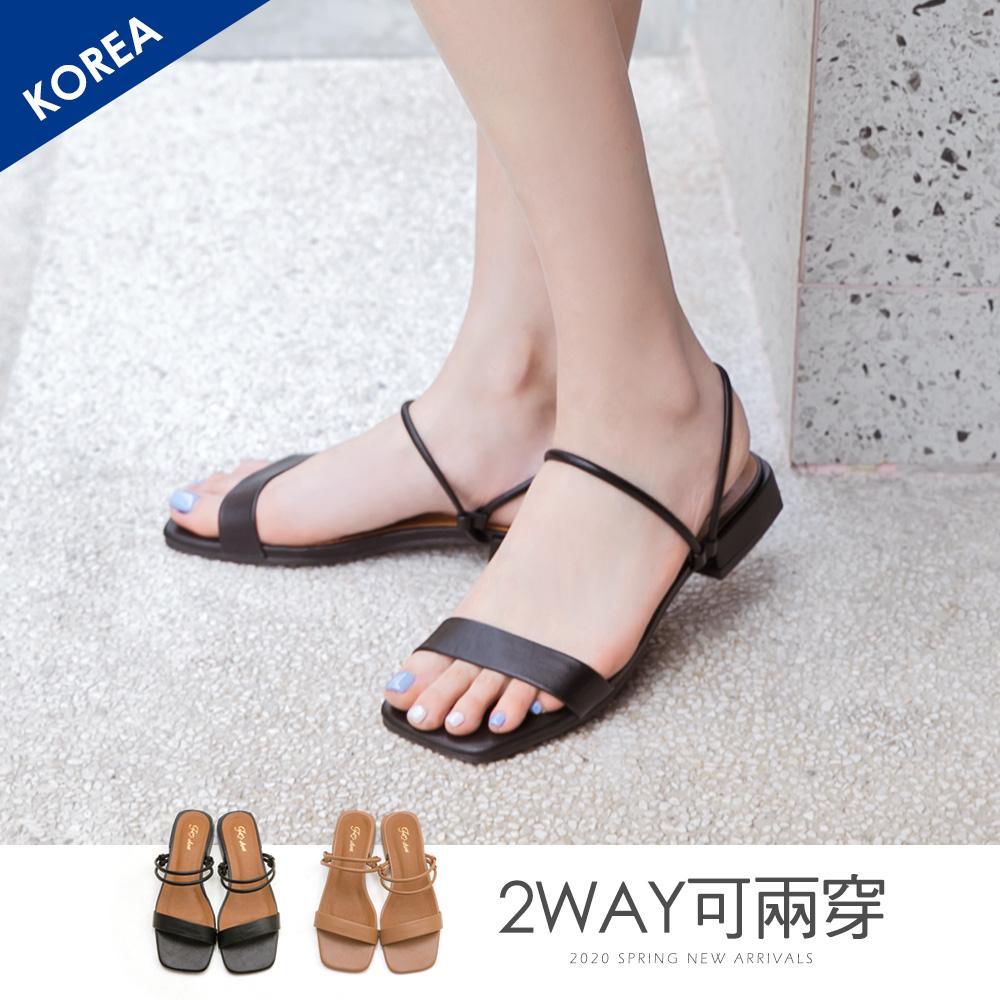 韓-2way一字方頭涼鞋-大尺碼