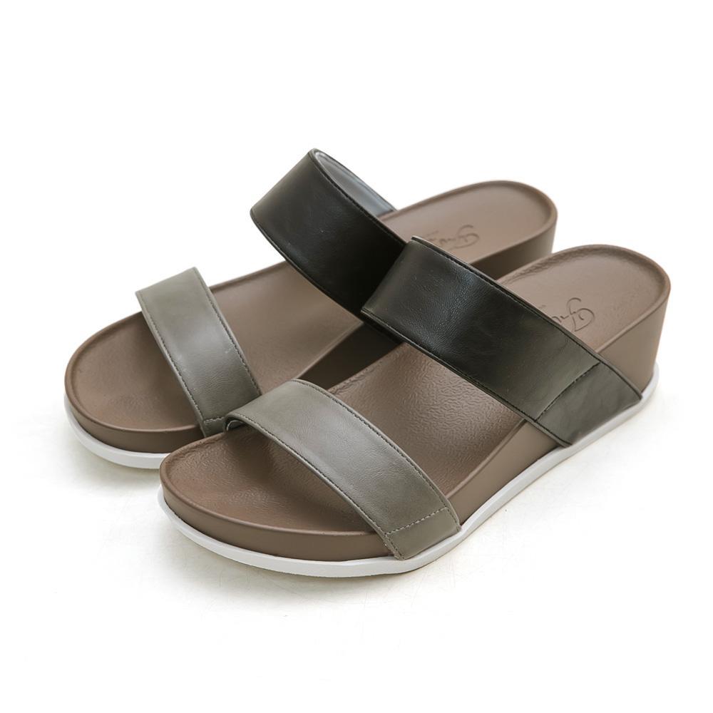 訂製款-二代涼感撞色雙帶楔型拖鞋(黑)-大尺碼,平底鞋,平底拖鞋,楔型鞋,涼感鞋,MIT