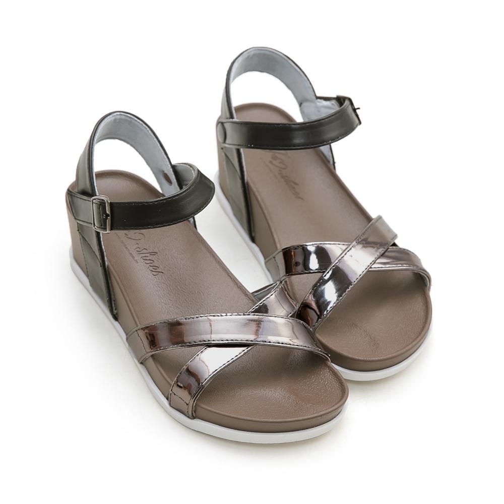 訂製款-美肌補光涼感楔型涼鞋(灰)-大尺碼,平底鞋,平底涼鞋,楔型涼鞋,楔型鞋,涼感鞋