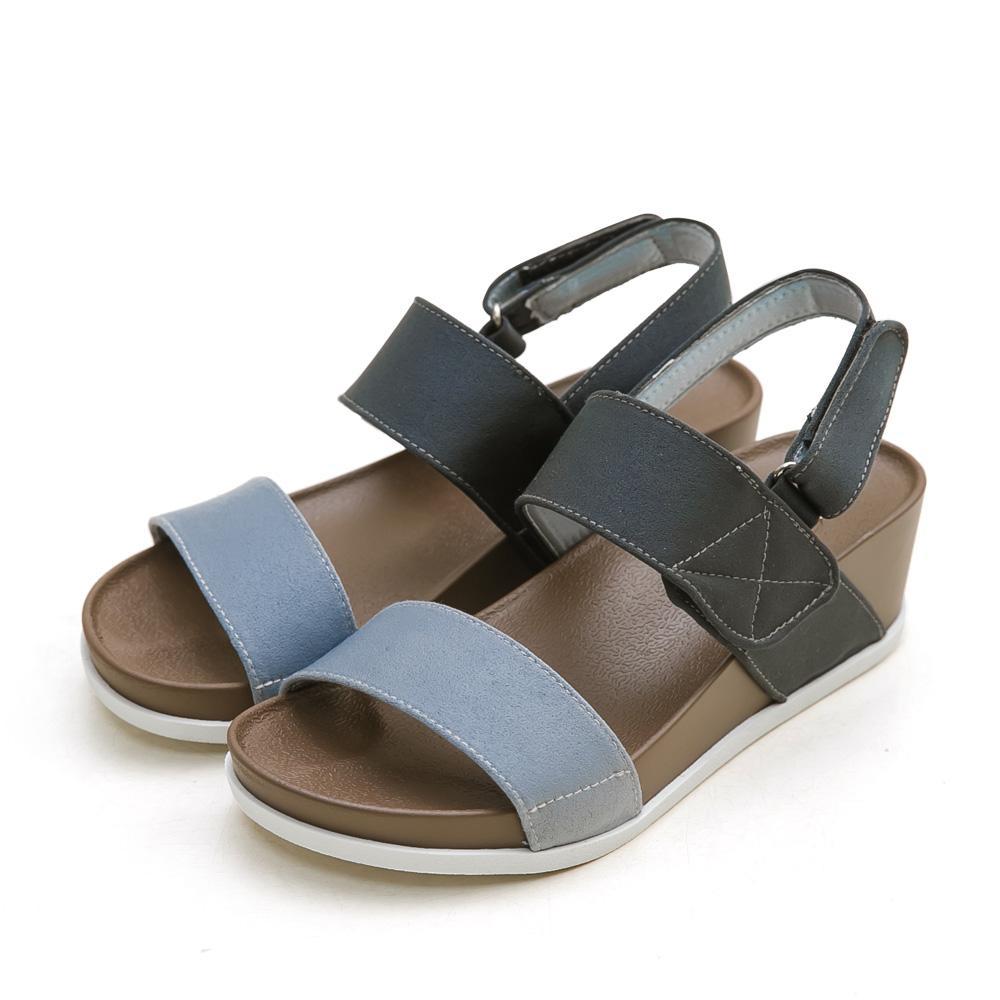 訂製款-防潑水一字撞色楔型涼鞋(藍)-大尺碼,平底涼鞋,厚底涼鞋,一字涼鞋,大碼,大尺寸