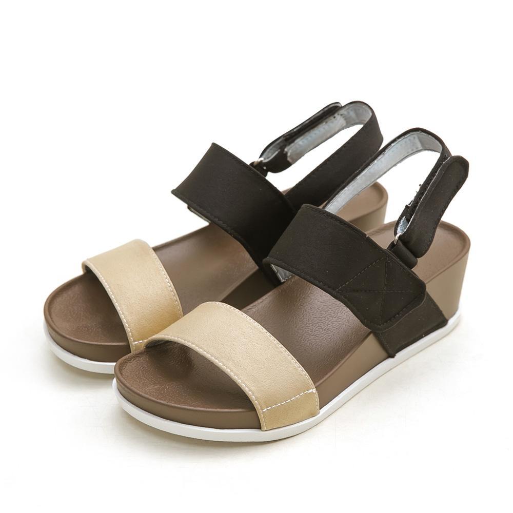訂製款-防潑水一字撞色楔型涼鞋(杏)-大尺碼,平底涼鞋,厚底涼鞋,一字涼鞋,大碼,大尺寸