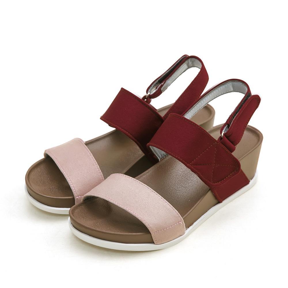 訂製款-防潑水一字撞色楔型涼鞋(粉)-大尺碼,平底涼鞋,厚底涼鞋,一字涼鞋,大碼,大尺寸