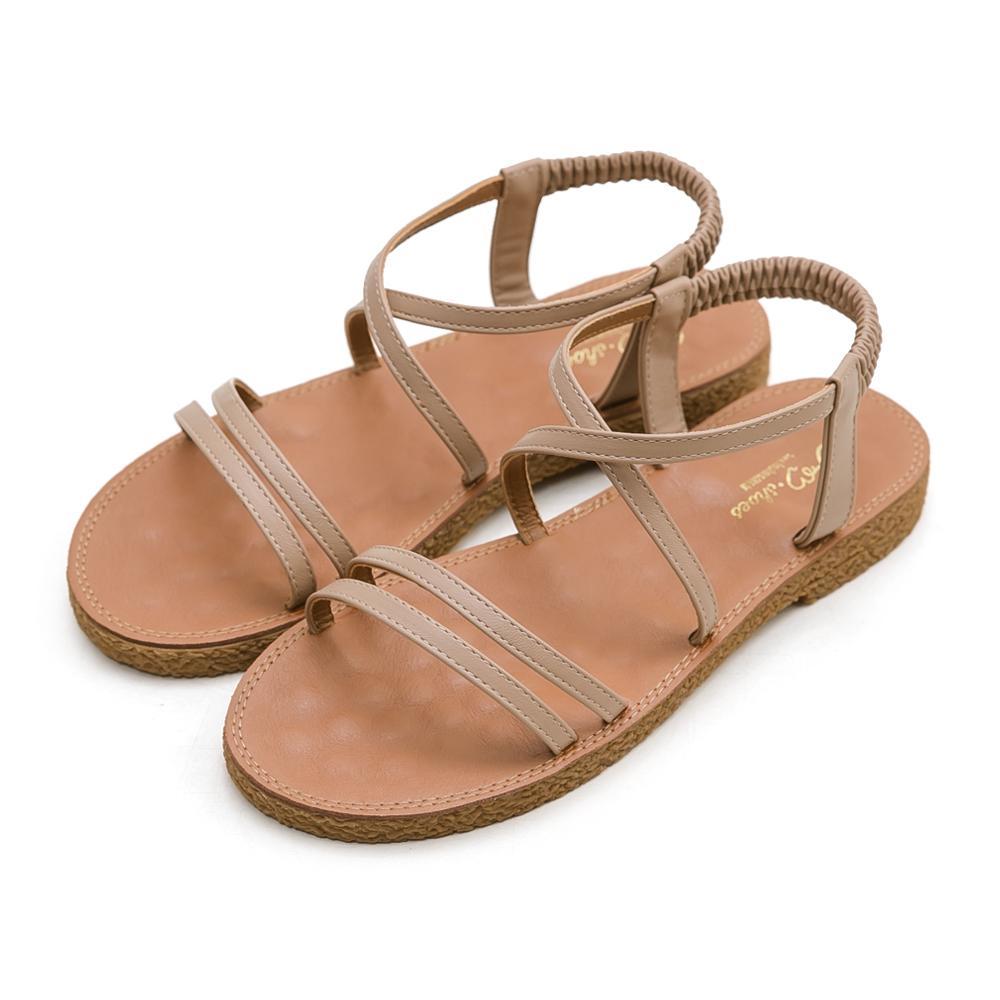 韓-雙細帶按摩墊涼鞋-大尺碼,平底鞋,平底涼鞋,大碼,大尺寸,按摩涼鞋