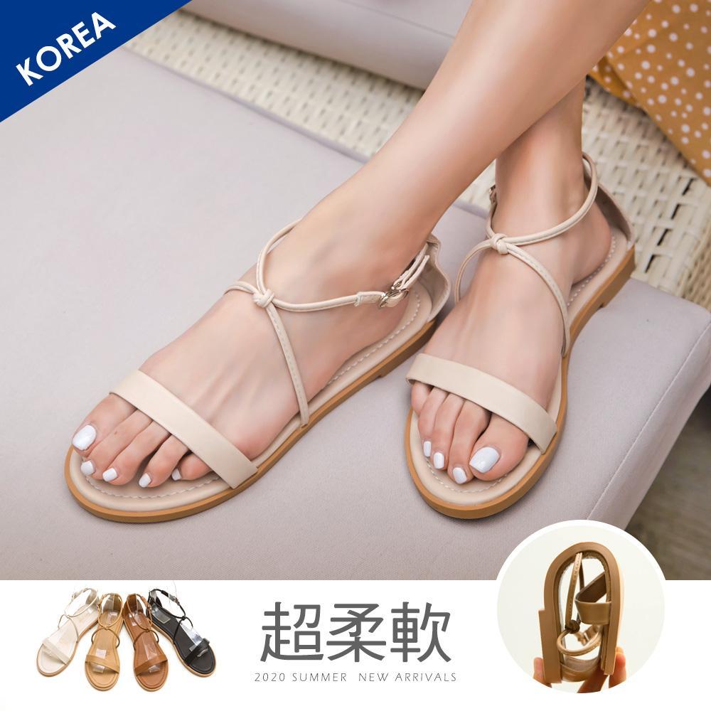 韓-一字交叉踝釦涼鞋
