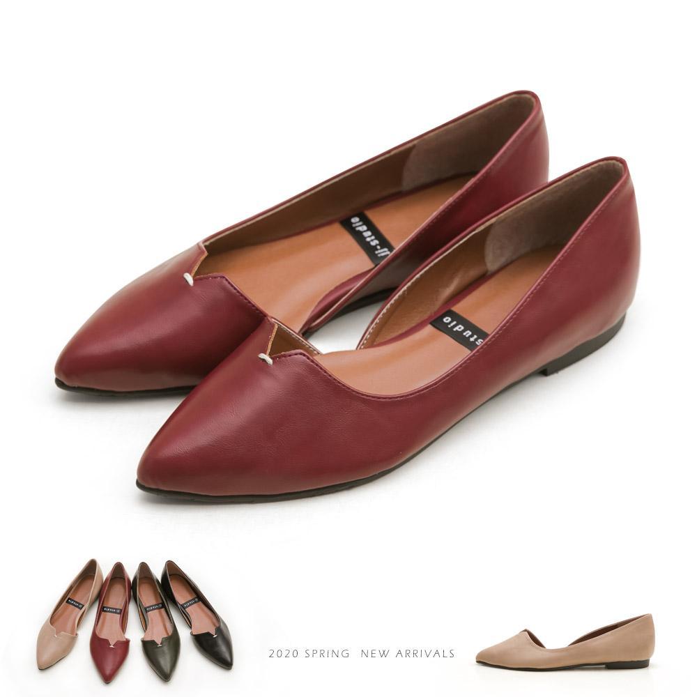 JJ-簡約風V口縫線造型平底包鞋 - 紅