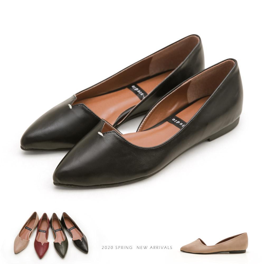 JJ-簡約風V口縫線造型平底包鞋 - 黑