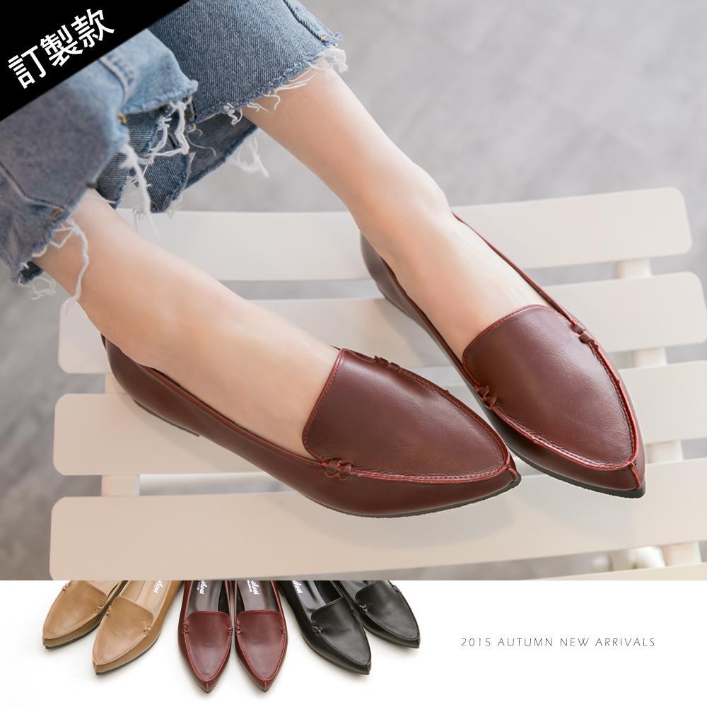 訂製款-俐落風格尖頭平底包鞋-大尺碼