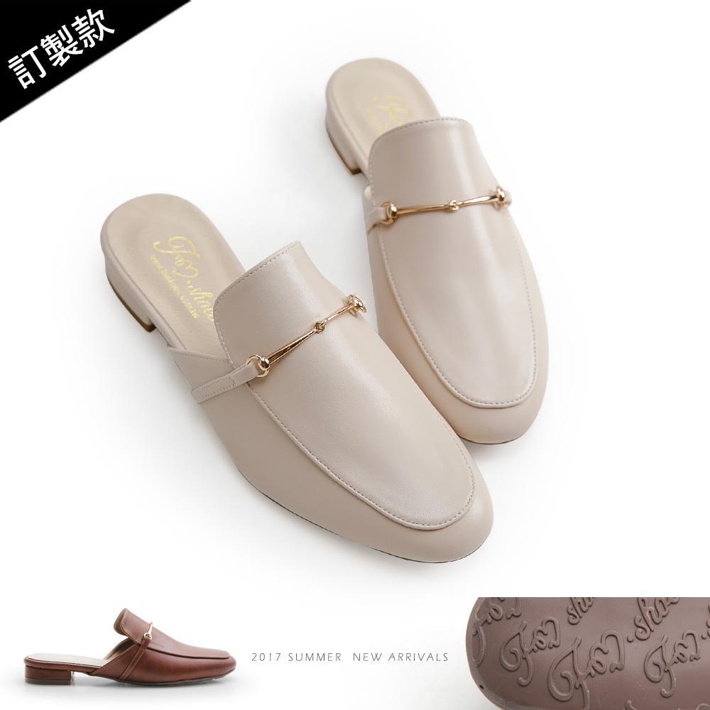 訂製款-細金屬條低跟穆勒鞋,皮革,低跟鞋,半包鞋,半拖鞋,紳士鞋
