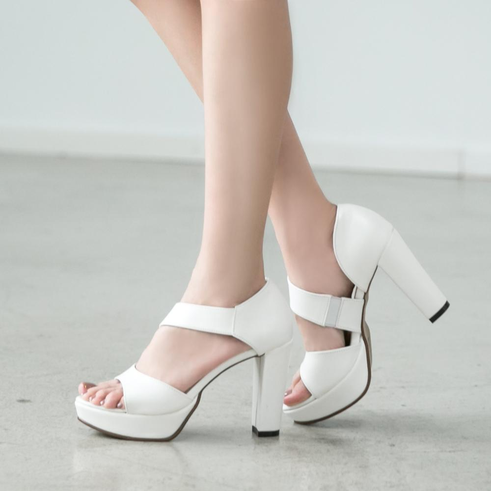 訂製款-性感比例斜繞帶粗跟涼鞋,涼鞋,高跟涼鞋,高跟鞋,挖空,裸肌