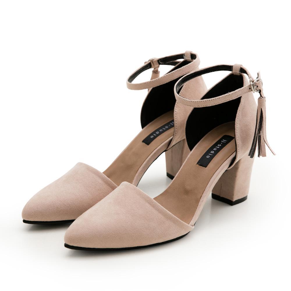 JJ-細絨流蘇踝釦尖頭高跟包鞋,尖頭鞋,,,3233_12080065,JJ-細絨流蘇踝釦尖頭高跟包鞋