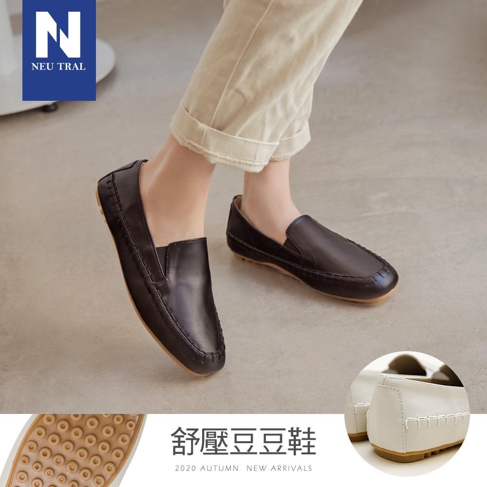 NeuTral-方頭軟革手縫豆豆鞋-黑