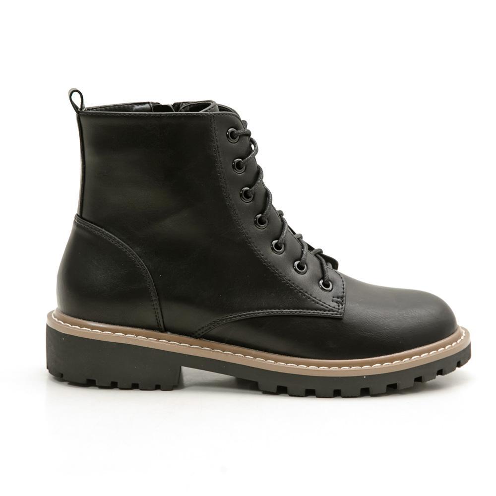 韓-皮革繫帶工程短靴(黑)-大尺碼,,,889-5-3_20007864,韓-皮革繫帶工程短靴(黑)-大尺碼,Korea - leather is the belt project short boots (black) - the big measurement
