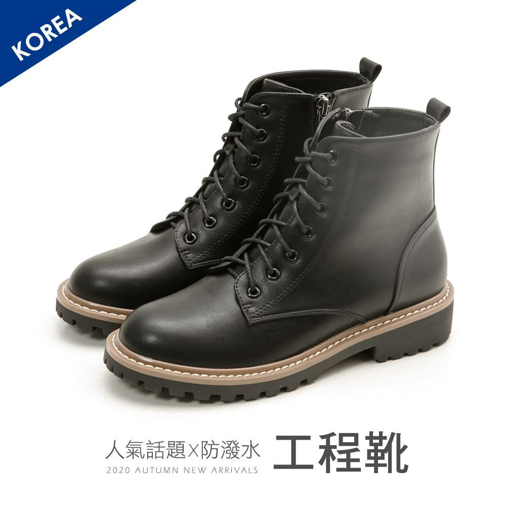 韓-皮革繫帶工程短靴(黑)-大尺碼