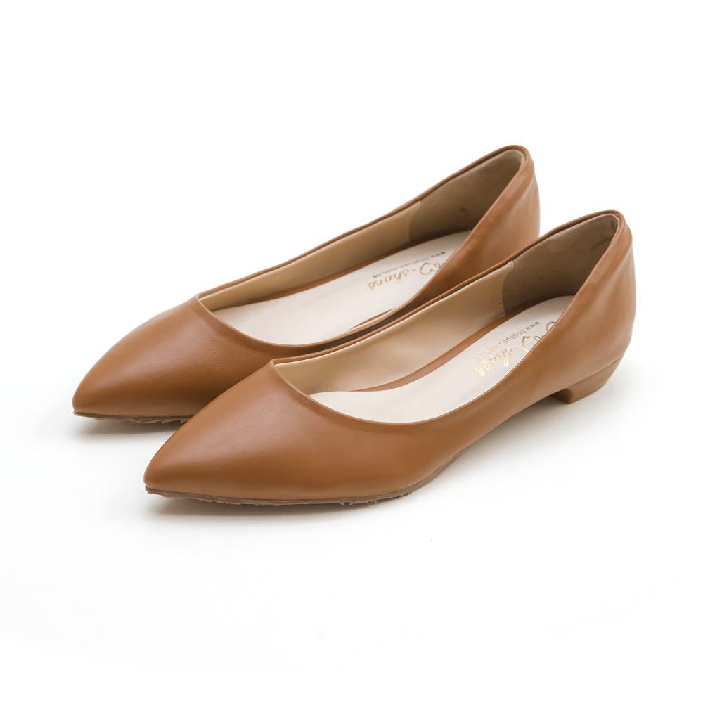 訂製款-防磨腳素面尖頭低跟包鞋(棕)-大尺碼,,,2072-5_20008016,訂製款-防磨腳素面尖頭低跟包鞋(棕)-大尺碼,Customized-PlainPointedToeLowHeelShoes(Brown)-LargeSize