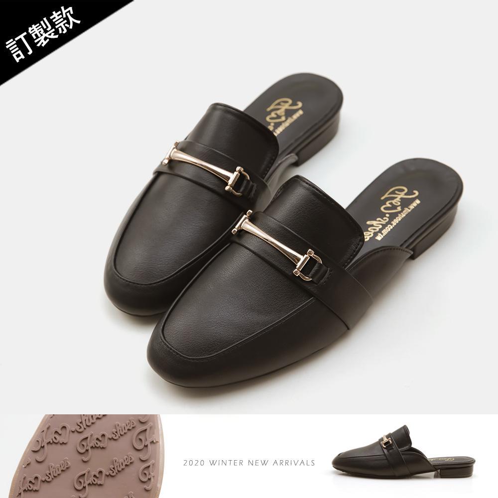 訂製款-金屬馬銜扣穆勒鞋(黑)-大尺碼