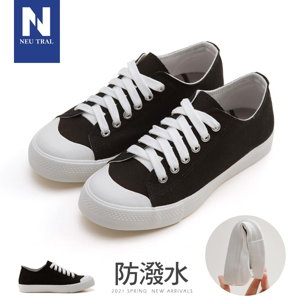 NeuTral-防潑水無印風帆布鞋-(黑)-大尺碼