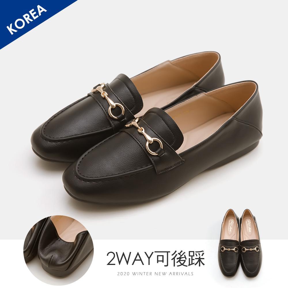 韓-莫卡辛馬銜扣後踩樂福鞋(黑)-大尺碼