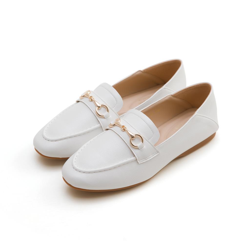 韓-莫卡辛馬銜扣後踩樂福鞋(白)-大尺碼,,,H-01-B_20008054,韓-莫卡辛馬銜扣後踩樂福鞋(白)-大尺碼,Korea-MoccasinHorsebitedLoafers(White)-LargeSize