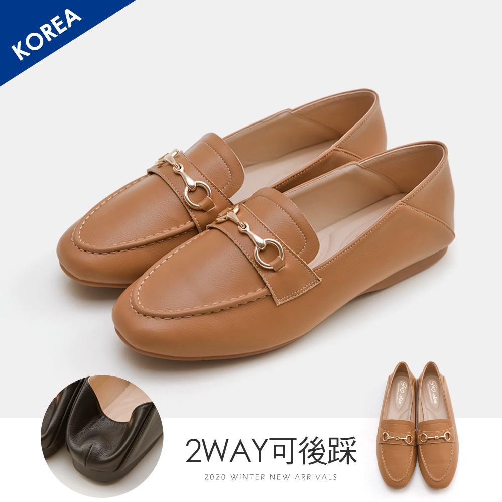 韓-莫卡辛馬銜扣後踩樂福鞋(棕)-大尺碼