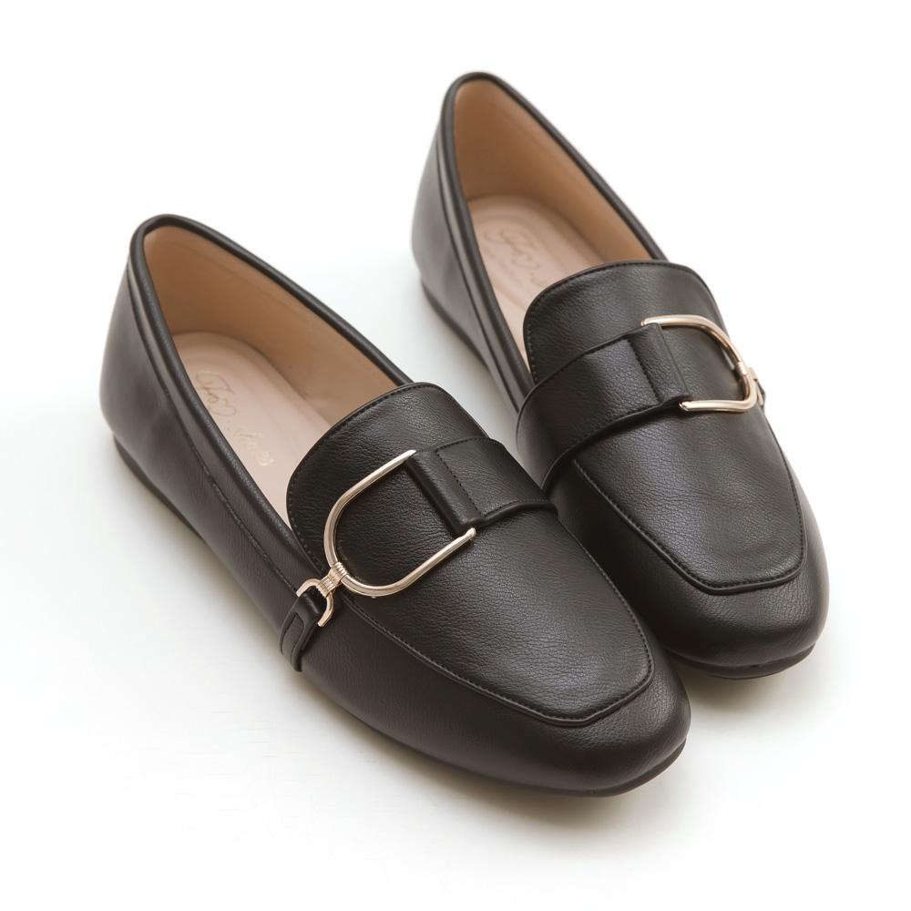 韓-金屬D扣樂福鞋(黑)-大尺碼,,,H-02-A_20008056,韓-金屬D扣樂福鞋(黑)-大尺碼,Korean-MetalD-buckleLoafers(Black)-LargeSize