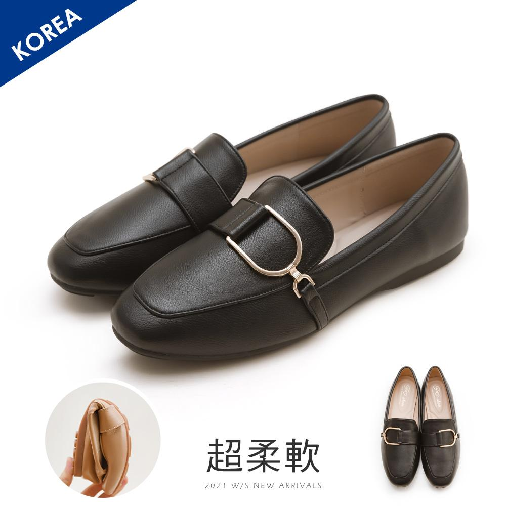 韓-金屬D扣樂福鞋(黑)-大尺碼