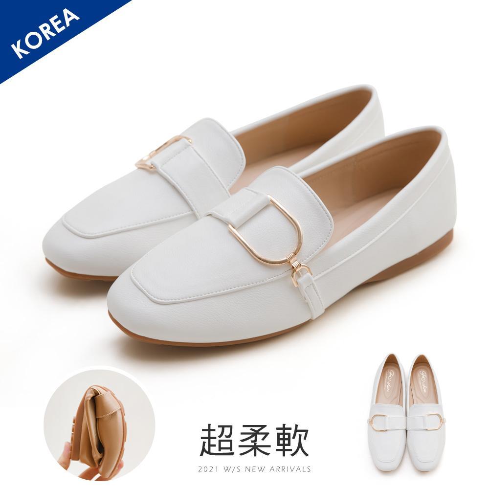 韓-金屬D扣樂福鞋(白)-大尺碼
