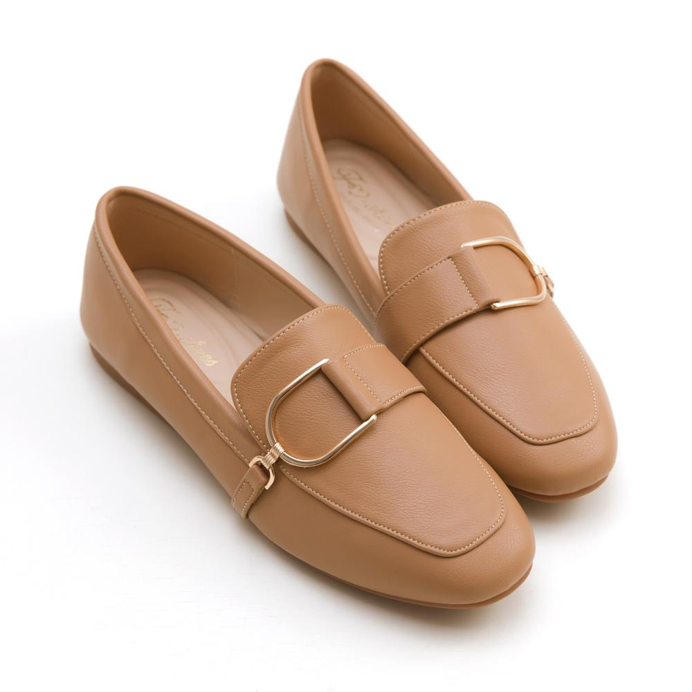 韓-金屬D扣樂福鞋(棕)-大尺碼,,,H-02-C_20008058,韓-金屬D扣樂福鞋(棕)-大尺碼,Korean-MetalD-buckleLoafers(Brown)-LargeSize
