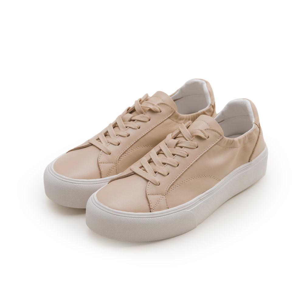 韓-真皮厚底伸縮小白鞋-杏,,,MT-2-B_20008072,韓-真皮厚底伸縮小白鞋-杏,Korea-GenuineLeatherThickBottomRetractableWhiteShoes-Apricot
