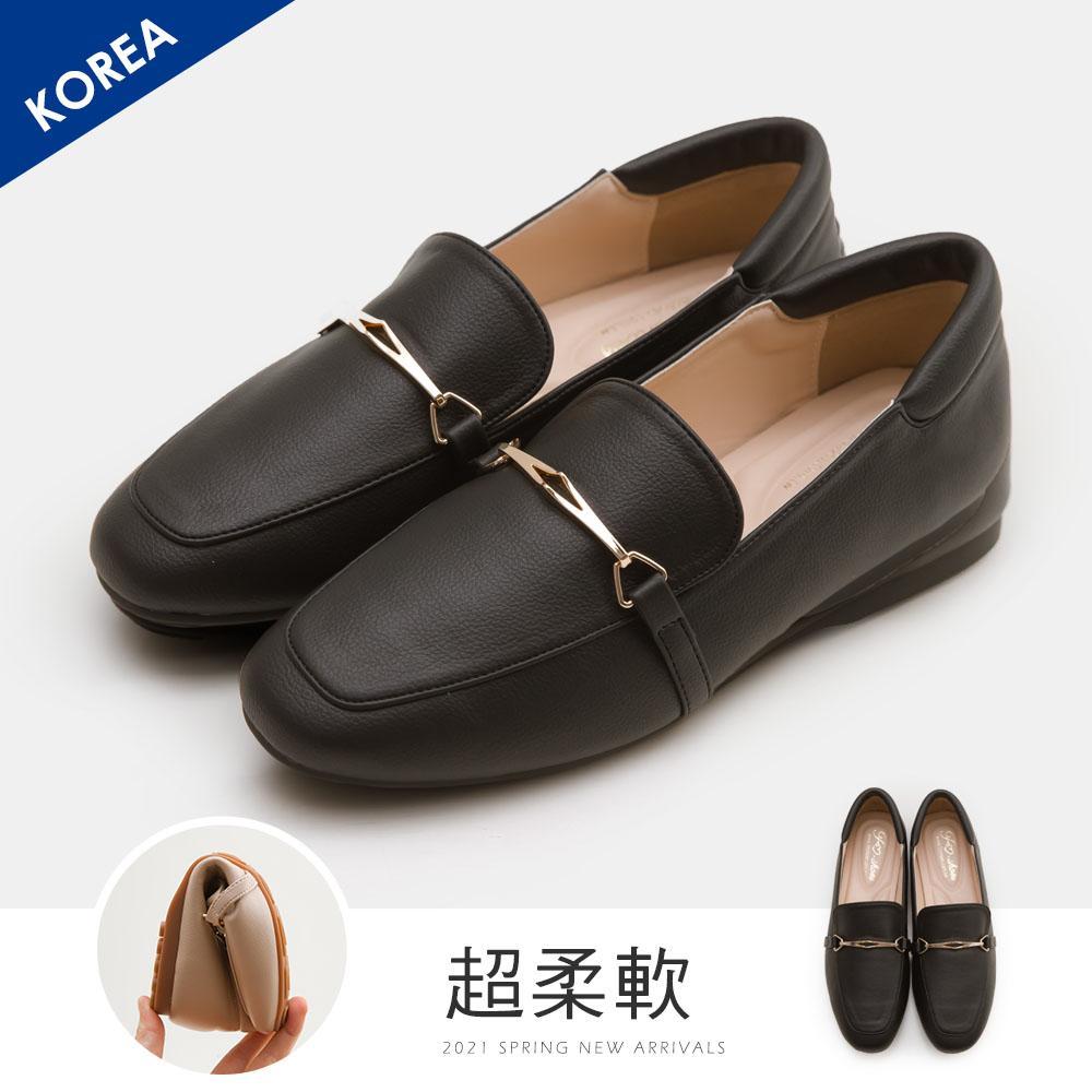 韓-馬銜扣舒適後枕樂福鞋(黑)-大尺碼
