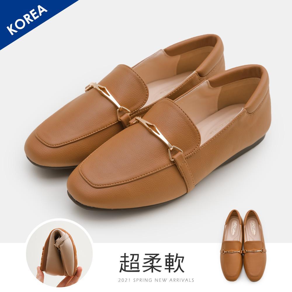 韓-馬銜扣舒適後枕樂福鞋(棕)-大尺碼