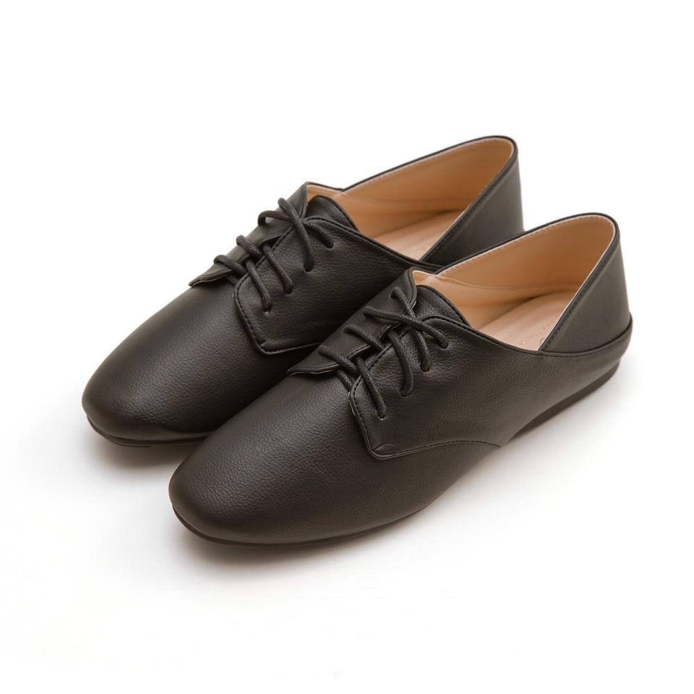 韓-英倫風綁帶後踩豆豆鞋(黑)-大尺碼,,,H-04-A_20008089,韓-英倫風綁帶後踩豆豆鞋(黑)-大尺碼,Korea-Britishstyletie-upPeasshoes(black)-largesize