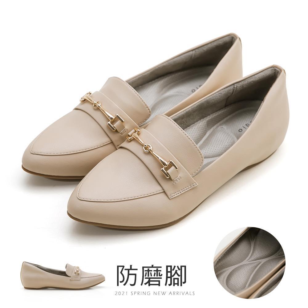 JJ-防磨腳內增高馬銜釦沙發鞋(杏粉)-大尺碼