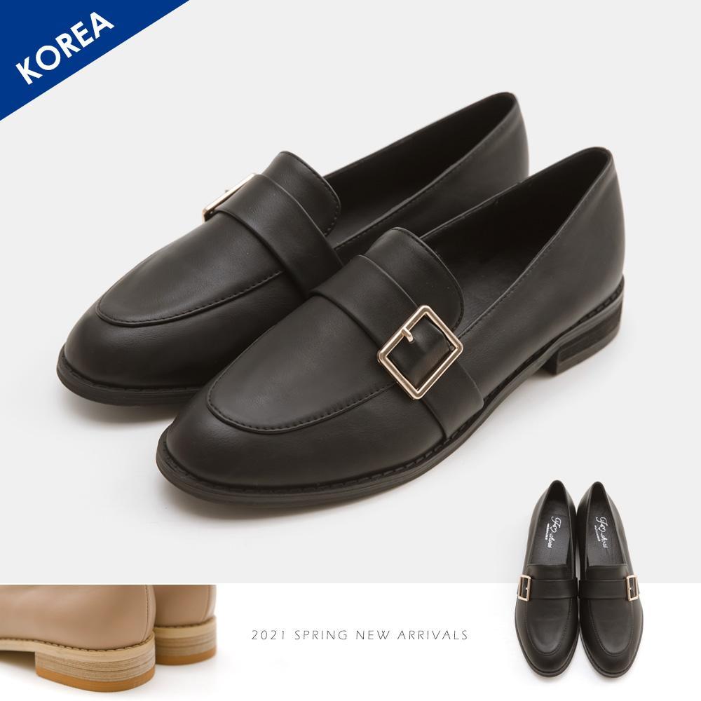 韓-側扣環木跟紳士鞋(黑)-大尺碼