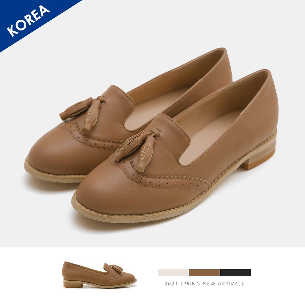 韓-流蘇木跟紳士鞋(棕)-大尺碼