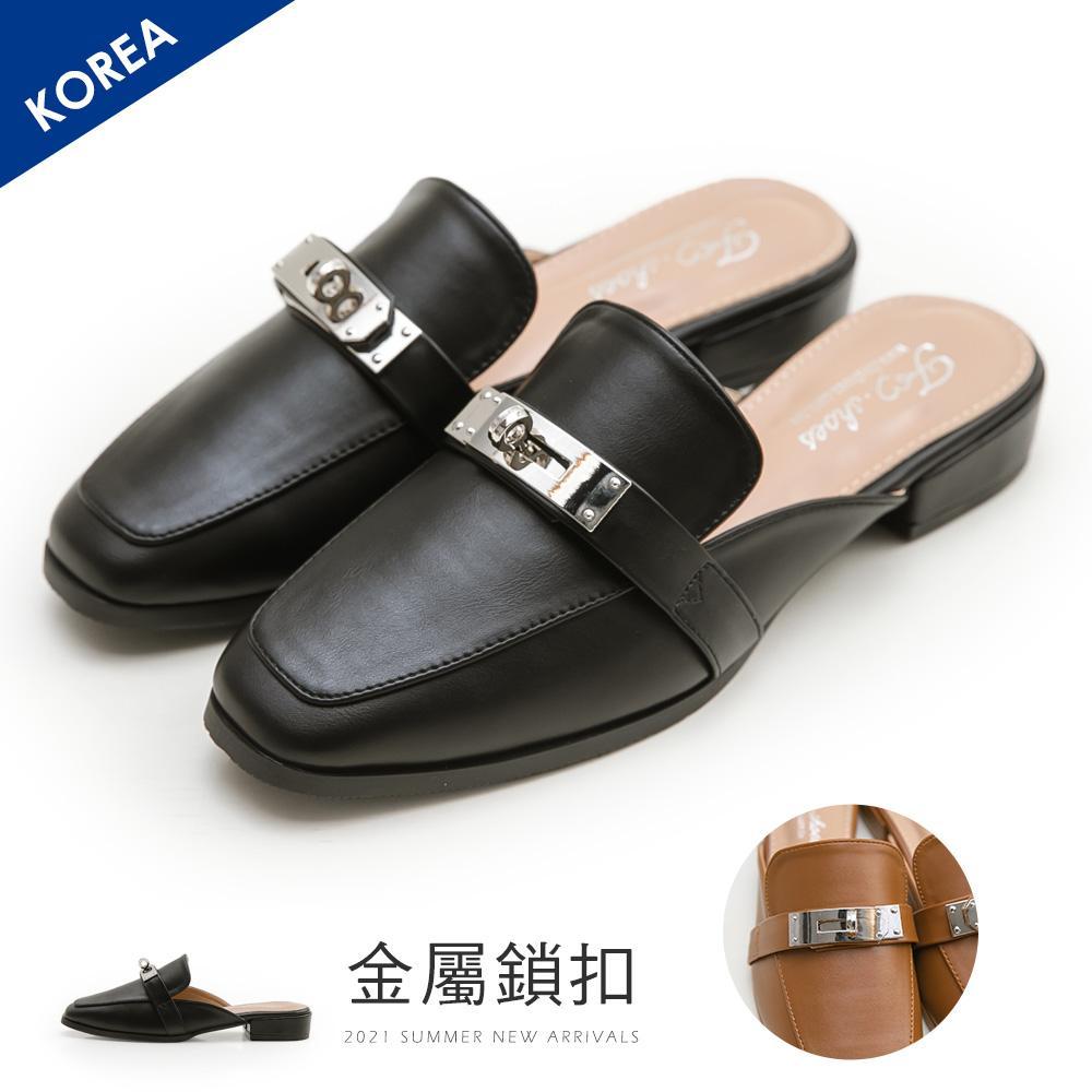 韓-金屬鎖扣穆勒拖鞋(黑)-大尺碼