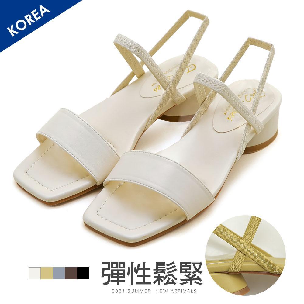 韓 方頭一字鬆緊粗跟涼鞋