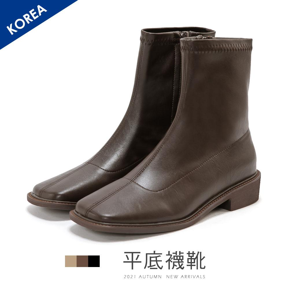 韓 復古方頭平底襪靴 - 咖