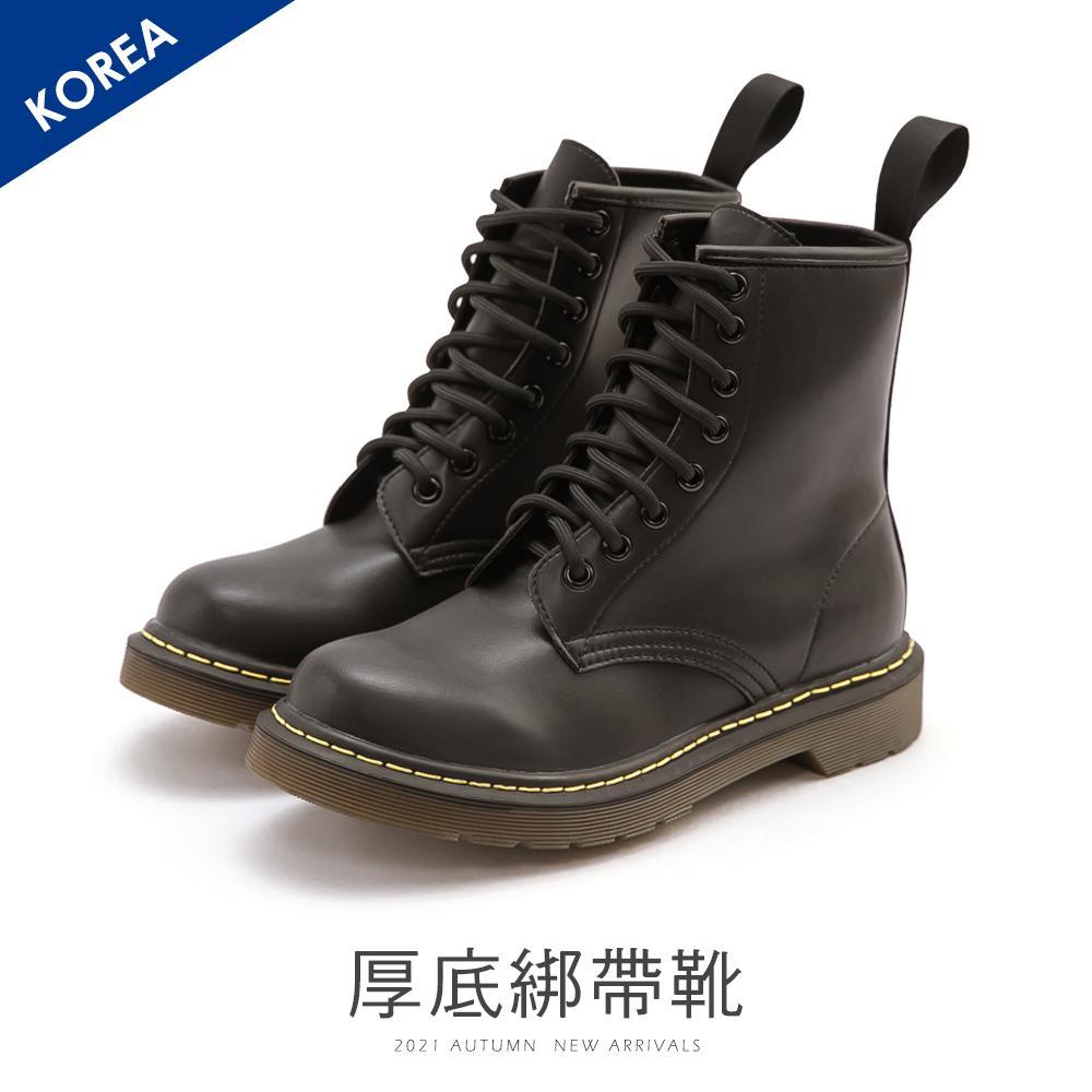 韓 綁帶馬丁靴