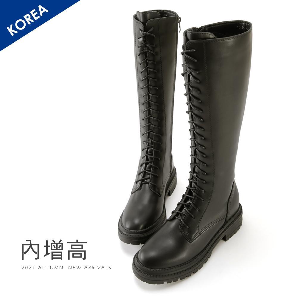 韓 內增高馬甲綁帶長靴 - 黑